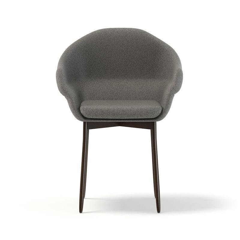 3D chair grey fabric model