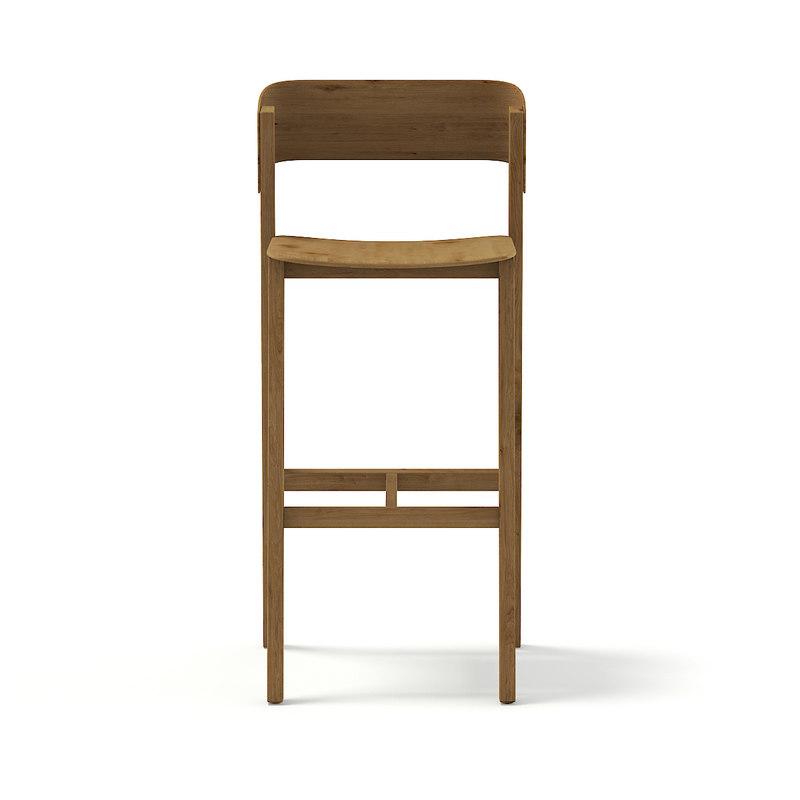 tall wooden chair 3D model