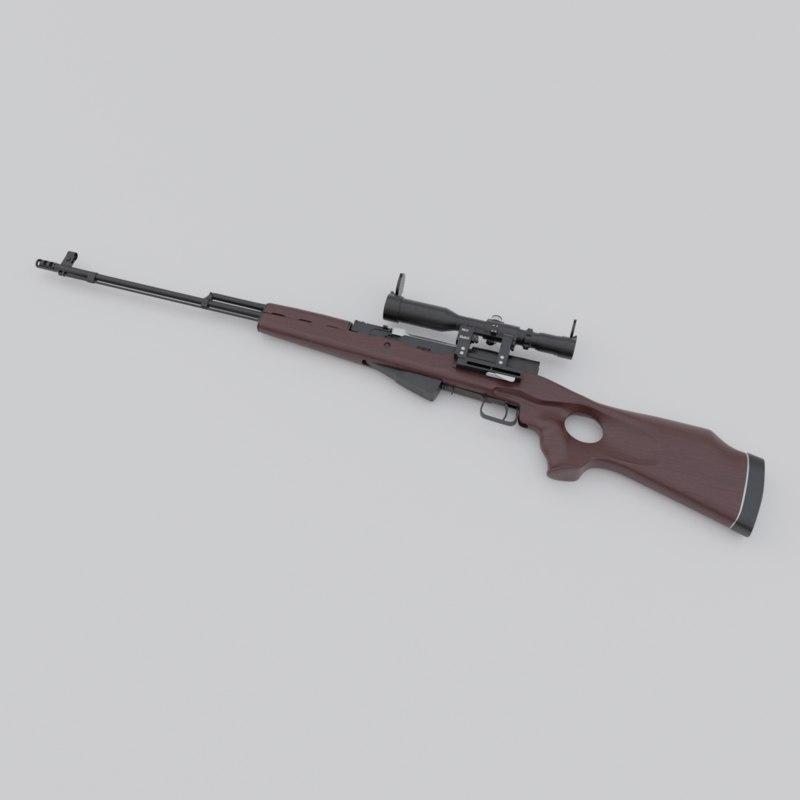 3D russian sks-45 rifle posp-4 model