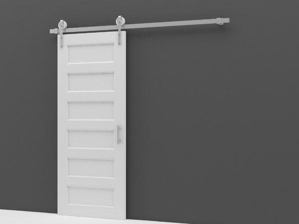 3D modern white sliding door