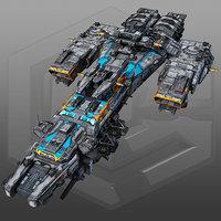 3D scifi destroyer g4