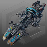 3D scifi commander ship g7 model