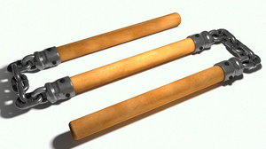 3D model three-sectional staff triple nunchaku