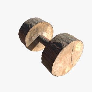 3D wooden dumbell model