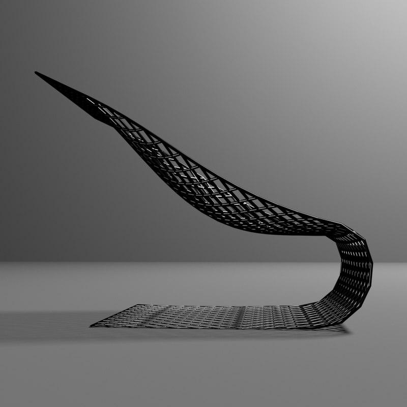 chromium frame chair 3D