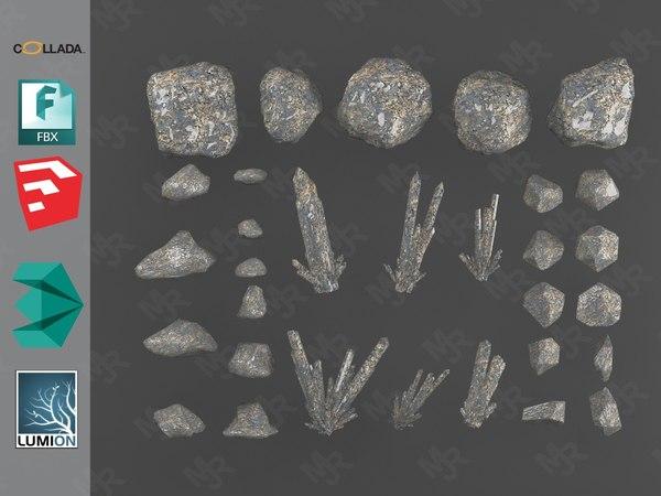 3D model rocks crystals gemstone