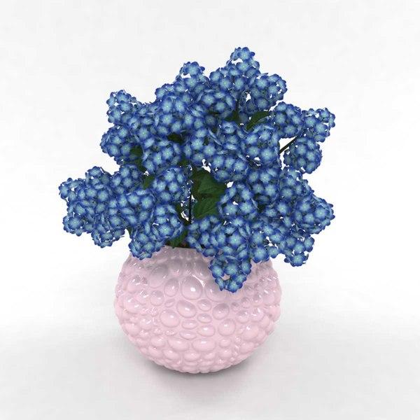 bouquet hydrangea blue 3D model