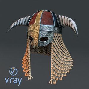 3D medieval helmet 3 modeled model