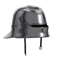 medieval knight sallet helmet visor 3D model
