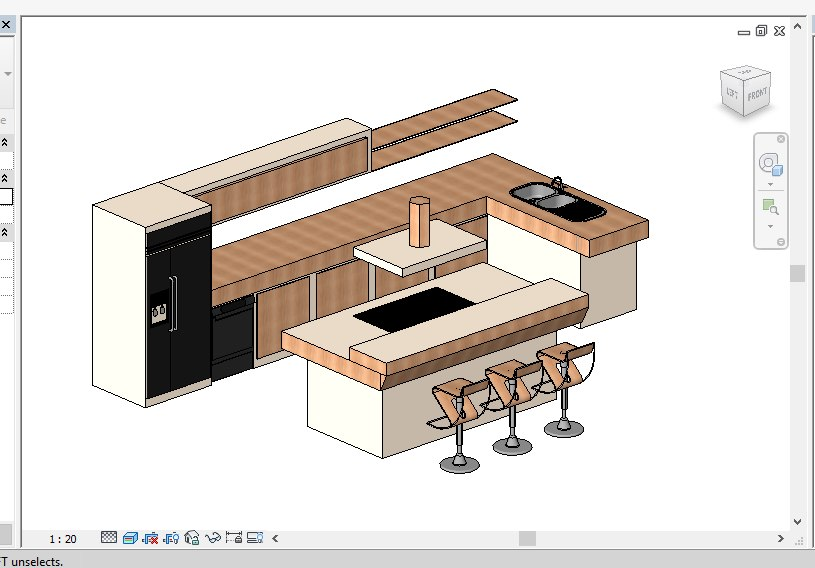 modern kitchen revit 2015 3D model