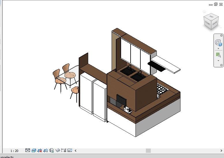 3D complete kitchen revit family model