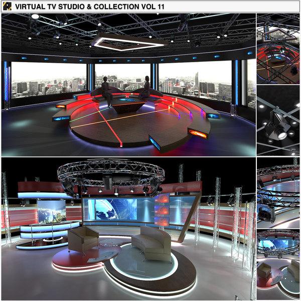 virtual tv studio chat 3D model