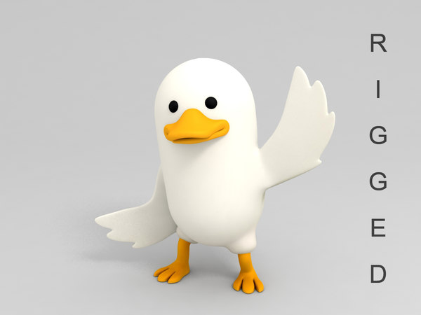 3D duck character cartoon rigged