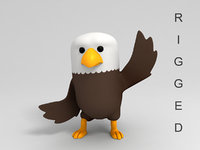 eagle character cartoon rigged 3D