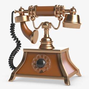 3D model retro telephone