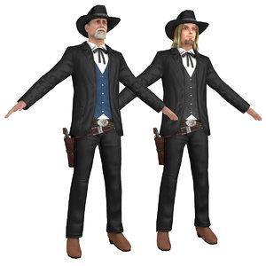 pack cowboy revolver hat 3D model