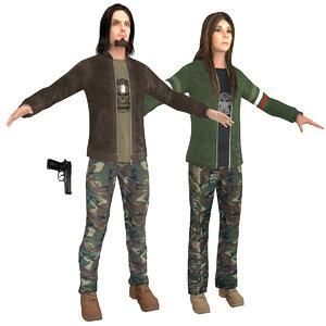 3D urban military man woman