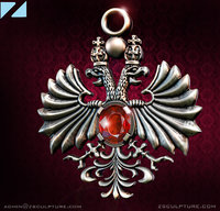 3D pendant necklace eagle two-headed