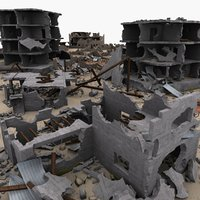 modular set ruins city town model