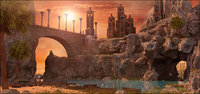 Sunset Cave and Bridge Landscape