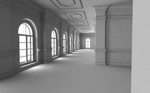 3D corridor interior model