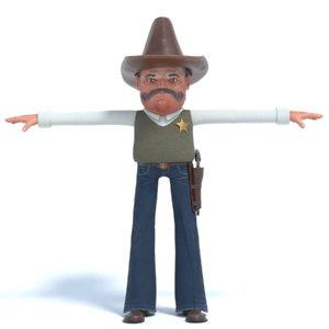 3D cowboy cow cartoon