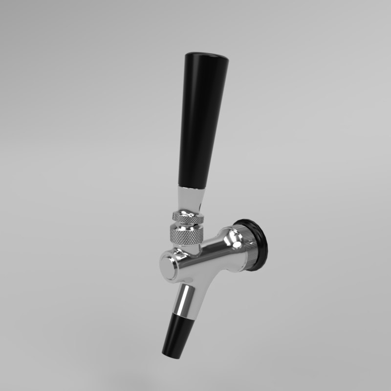 interior beer faucet stainless steel 3D model
