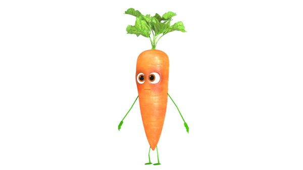rigged character carrot 3D