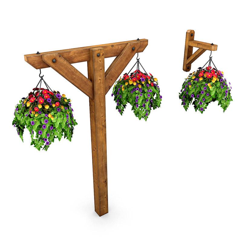 hanging potted plants 3D model