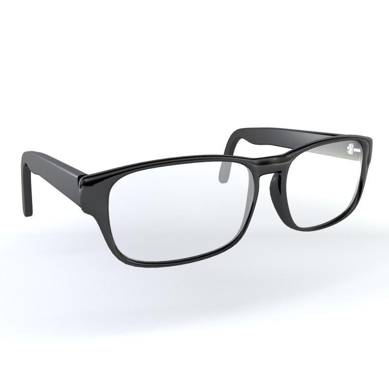 realistic glasses 3D model