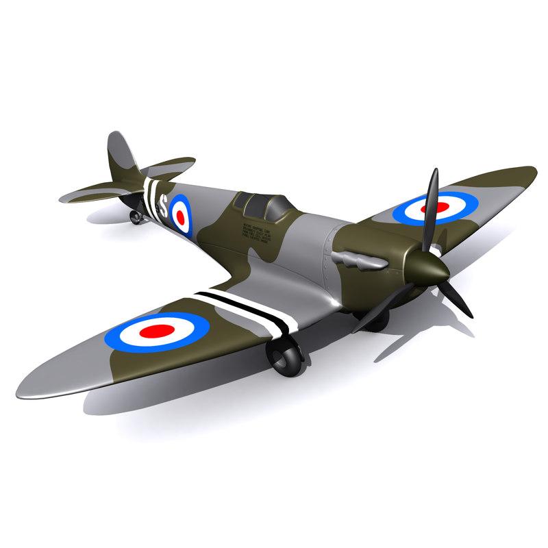 3D model spitfire fighter aircraft
