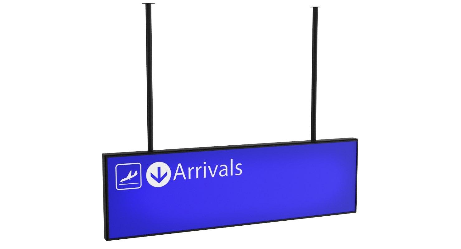 3D airport arrival sign model