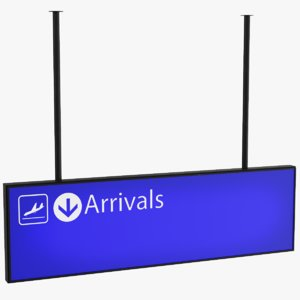 3D airport arrival sign model