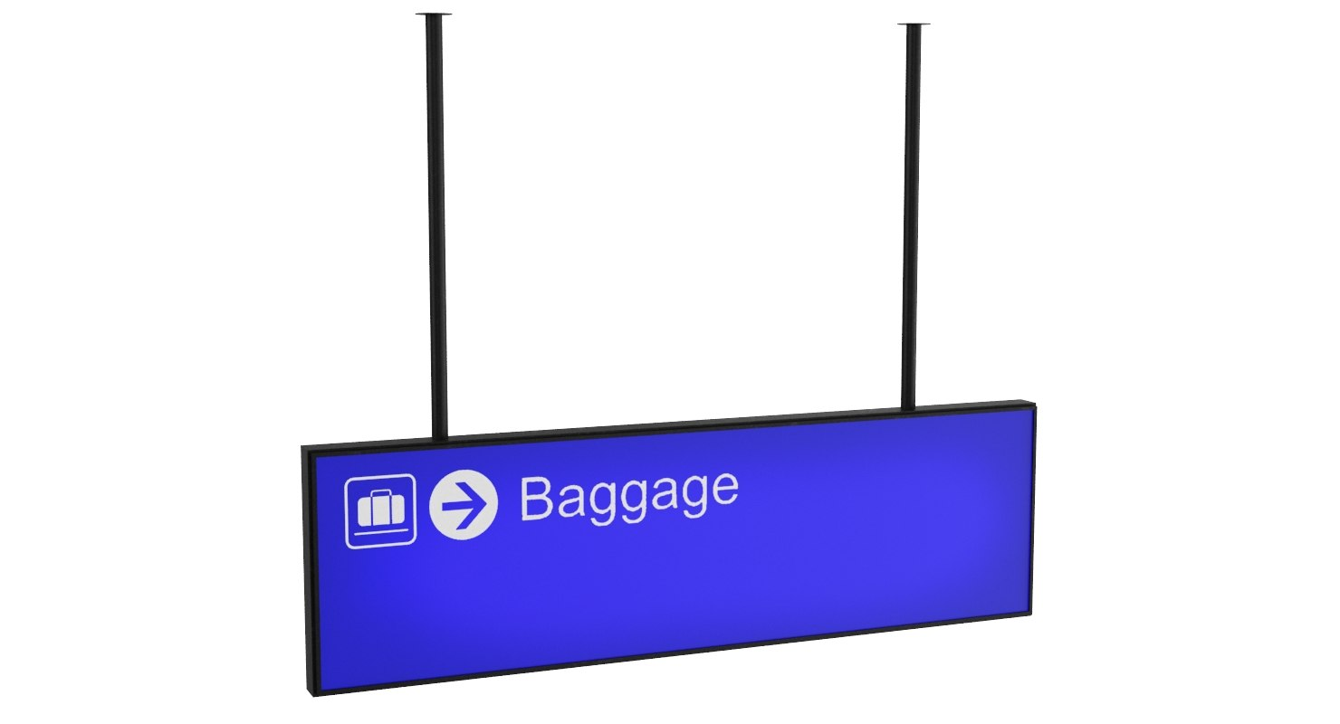 3D model airport baggage sign