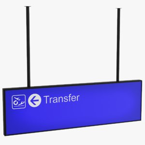 3D airport transfer sign model