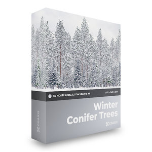 winter conifer trees volume 3D