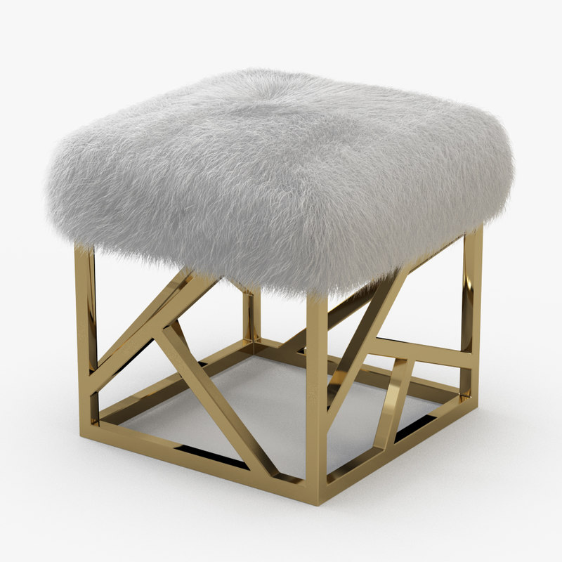 3D wool white sheepskin ottoman model
