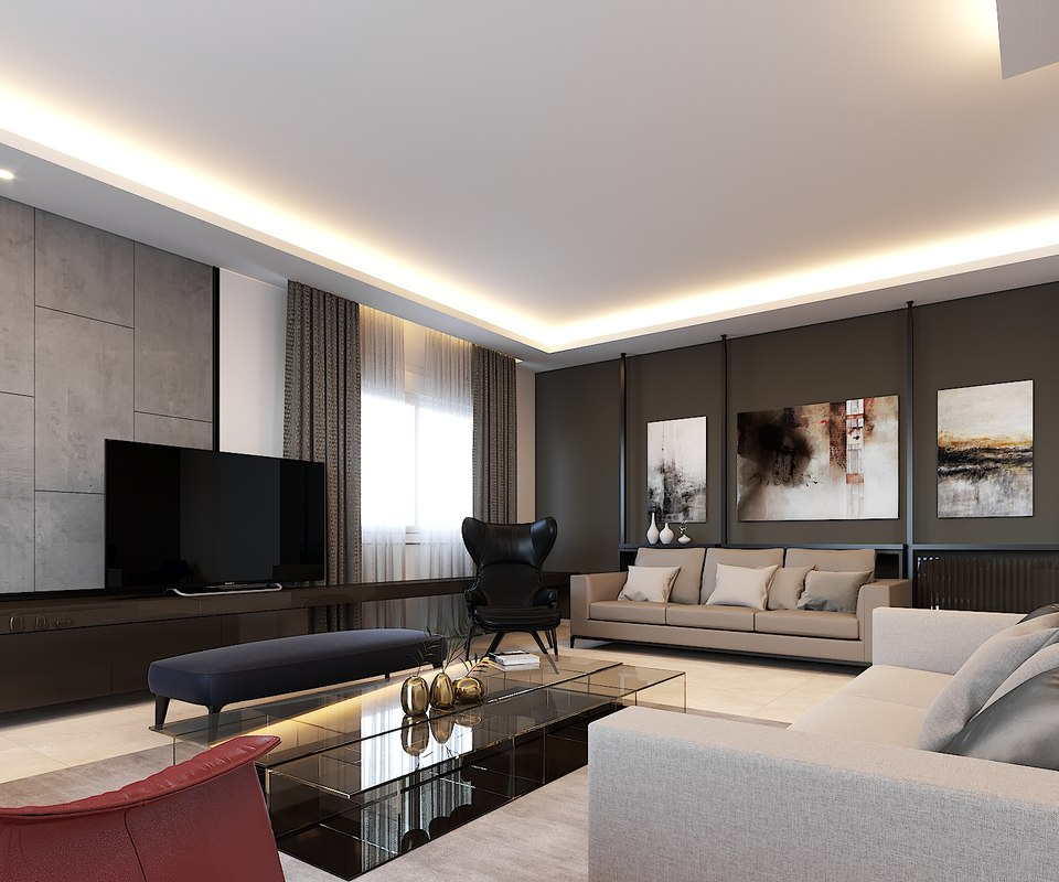 interior apartment rendered 3D model