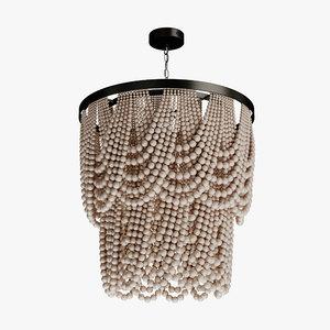 3D wood beads chandelier model