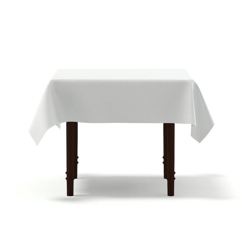 classic table tablecloth 3D model