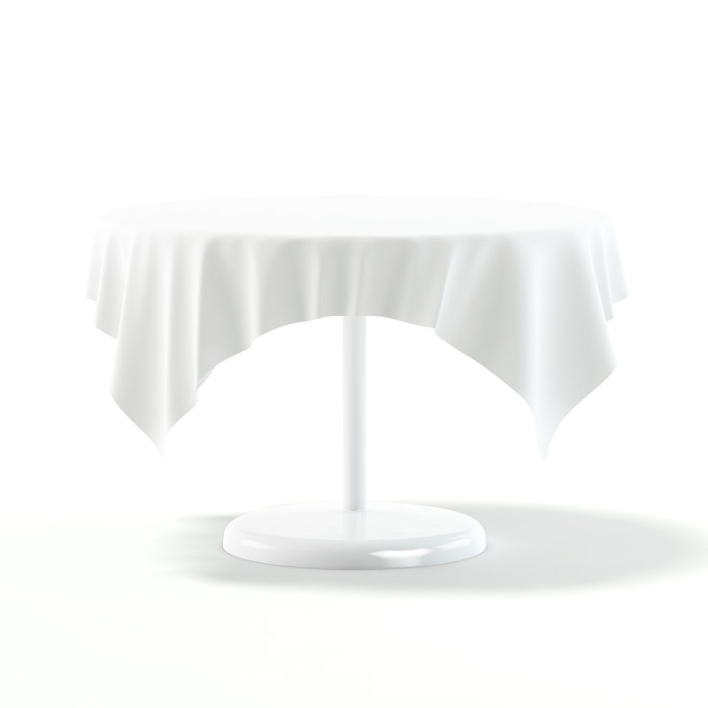 3D white table tablecloth