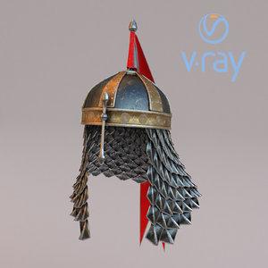 medieval helmet 4 modeled 3D model