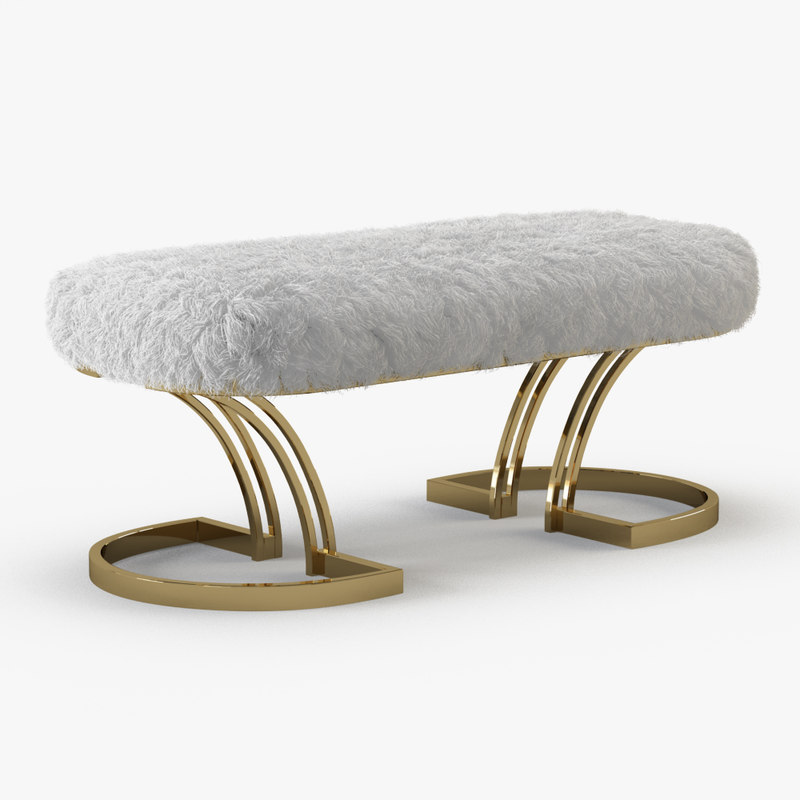 wool sheepskin brass bench 3D