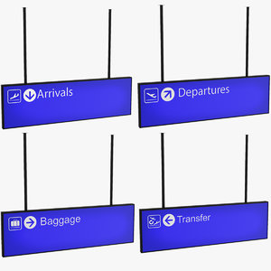 3D model airport signs