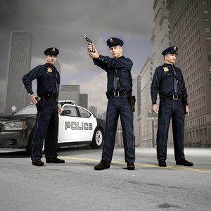 policeman set figures 3D