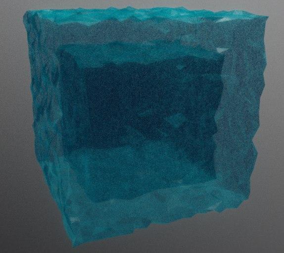 3D model cube water