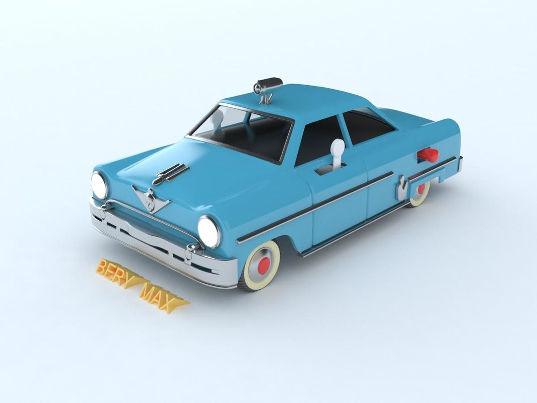 old-fashioned blue car 3D