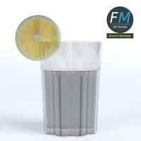 3D glass liquid lemon slice model