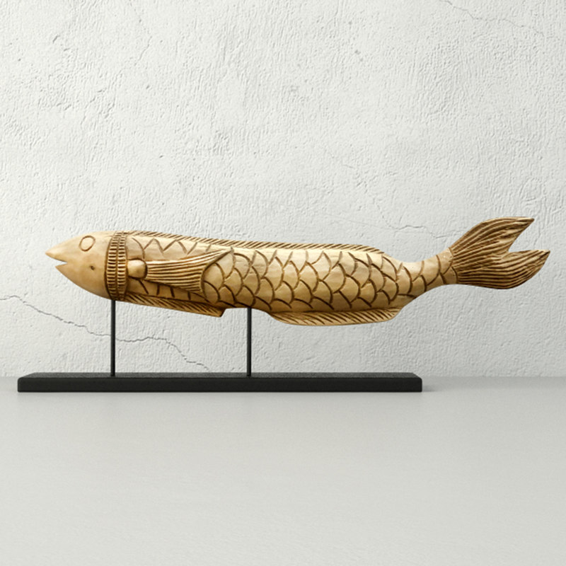 hand carved wood fish model