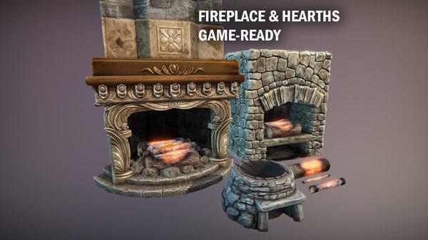 fireplace hearths 3D
